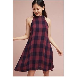 Anthropologie Cloth and Stone Plaid Swing Dress